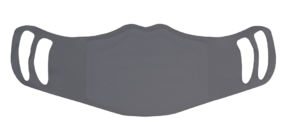 A washable and reusable polyester gray color printed cloth face mask with two ear holes by each side